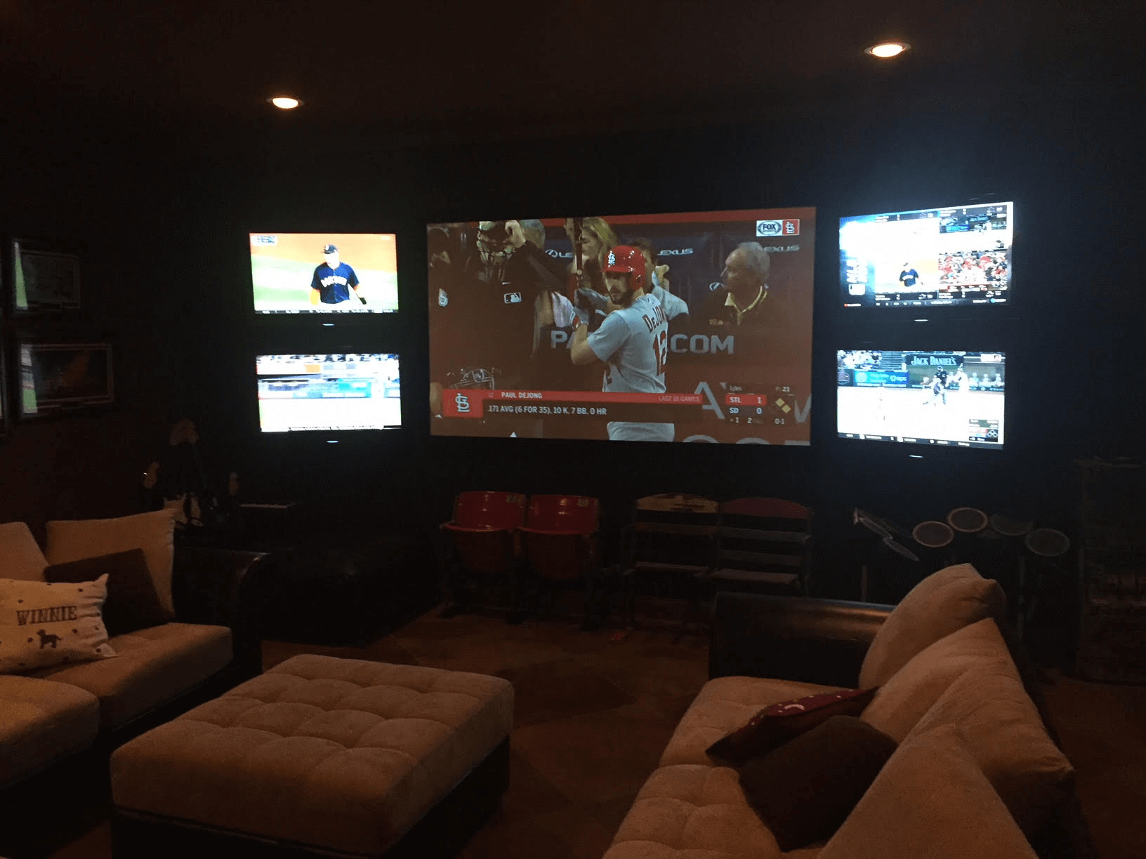 set up of tv in baseball mancave