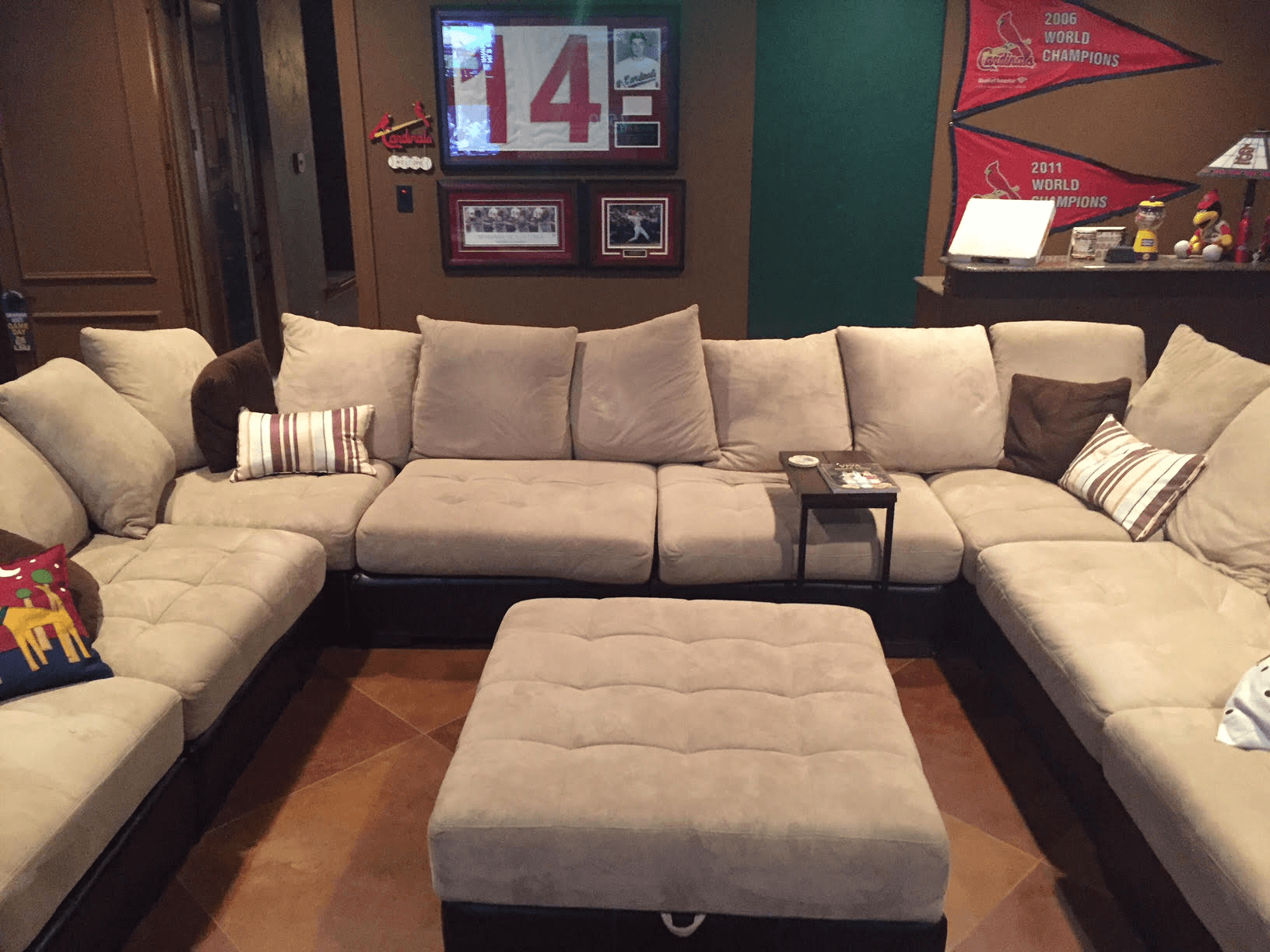 Sectional couch in man cave