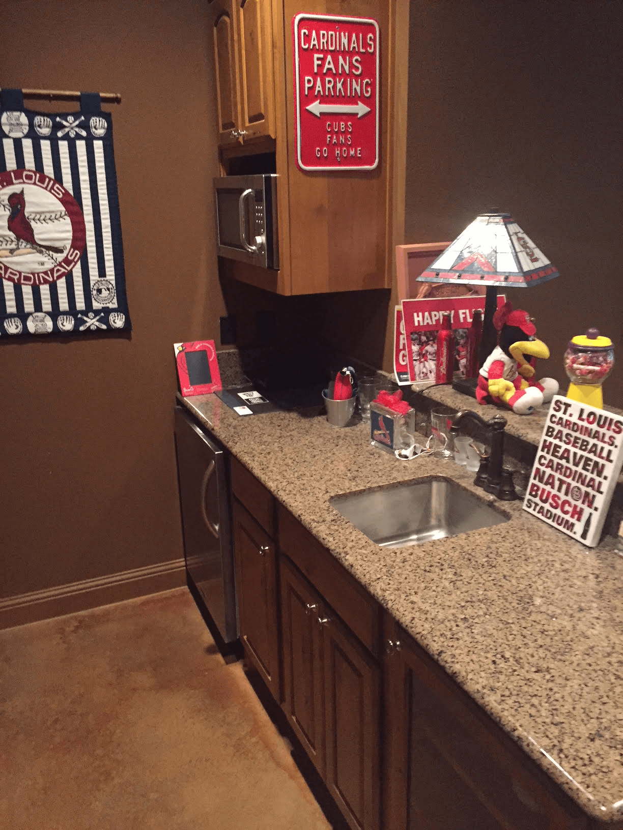 Sink area of baseball man cave
