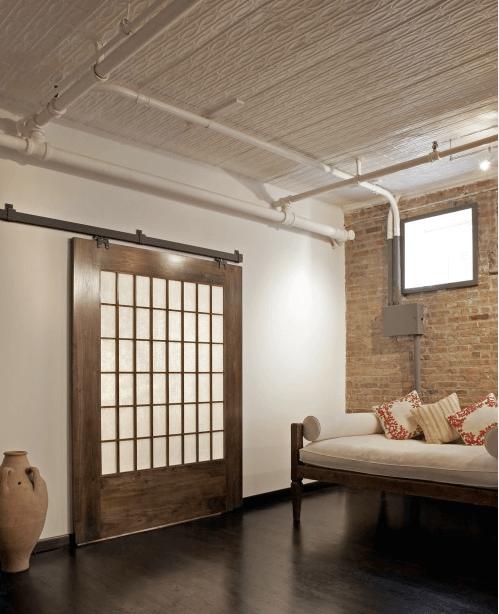 Barn-style door in home