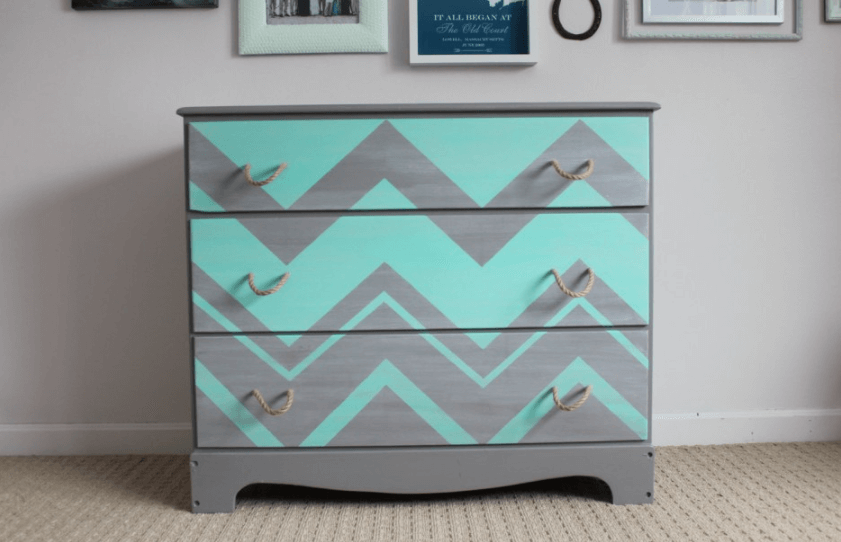 grey and white chevron-print dresser