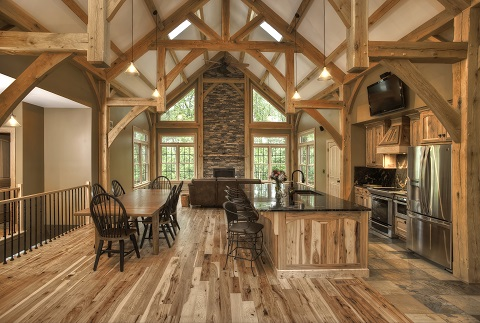 For wood lovers log timberframe and post and beam houses for Post beam house
